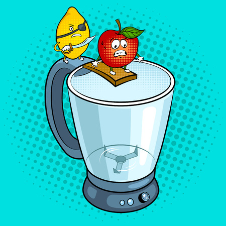 Lemon pirate and apple pop art vector illustration Ilustração