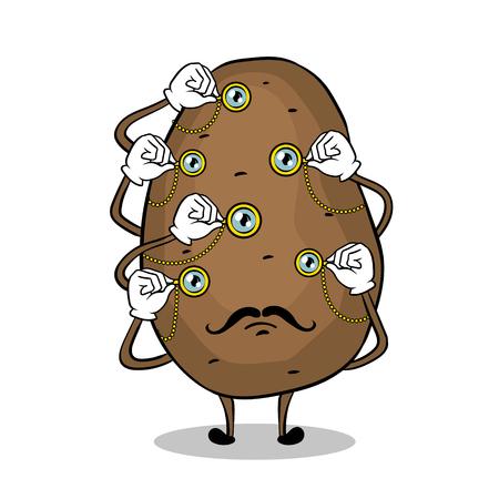 Potato and monoculars pop art vector illustration.