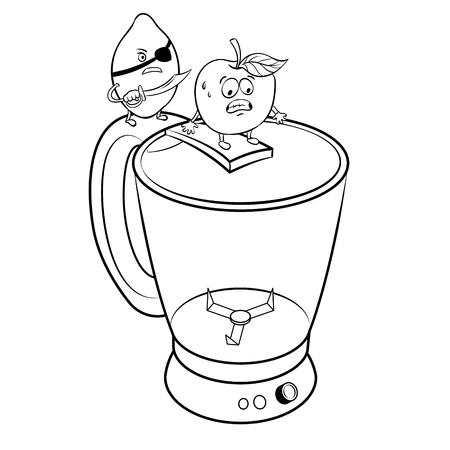 Lemon pirate and apple on blender coloring vector illustration. Isolated image on white background.