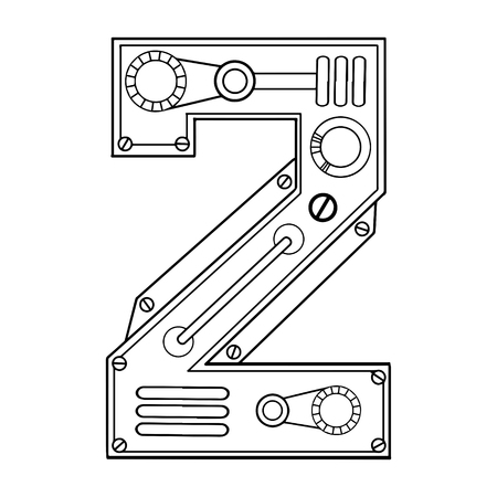 Mechanical number 2 engraving vector illustration. Font art. Scratch board style imitation. Hand drawn image.