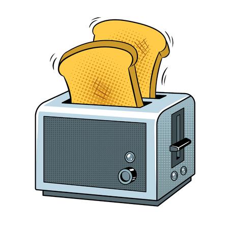 トーストポップアートレトロベクターイラスト付きトースター。白い背景に分離された画像。漫画本風の模倣。