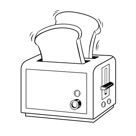 Toaster with toasts coloring vector illustration. Isolated image on white background. Comic book style imitation.