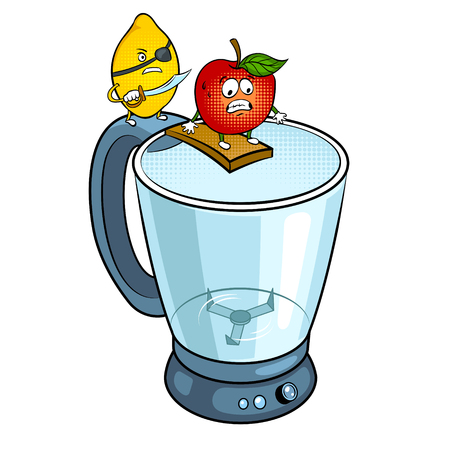 Lemon pirate and apple on blender pop art retro vector illustration. Cartoon food character. Isolated image on white background. Comic book style imitation. Standard-Bild - 95091377