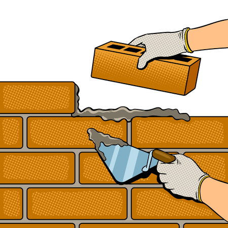 Brick wall building process pop art retro vector illustration. Isolated image on white background. Comic book style imitation.