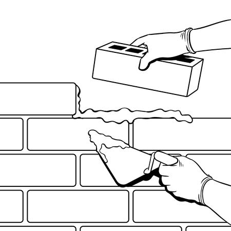 벽돌 벽 건물 과정 색칠 벡터 일러스트 레이 션 흰색 배경에 고립 된 이미지입니다. 만화 스타일 모방.