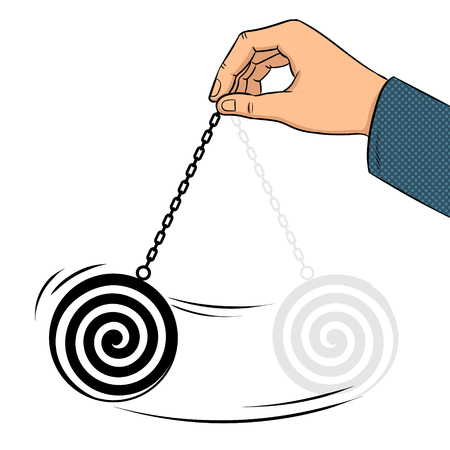 Hypnotizer pendulum in hand pop art retro vector illustration. Isolated image on white background. Comic book style imitation.