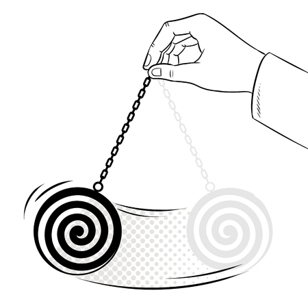 Hypnotizer pendulum in hand coloring book vector
