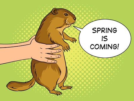 Groundhog animal in hands pop art retro vector illustration. Marmot predictor. Text bubble. Color background. Comic book style imitation. Illustration