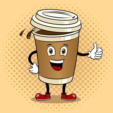 コーヒーカップと親指アップポップアートベクター