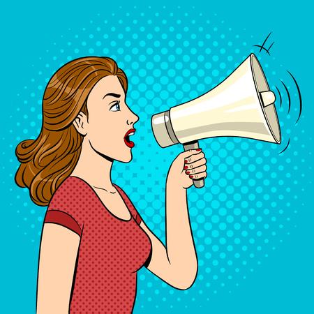 Woman with megaphone pop art style vector illustration. Human illustration. Comic book style imitation. Vintage retro style. Conceptual illustration