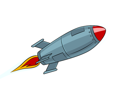 Rocket missile flying pop art style vector illustration. Isolated image on white background. Comic book style imitation. Vintage retro style. Stock Illustratie