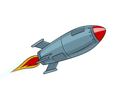Rocket missile flying pop art style vector illustration. Isolated image on white background. Comic book style imitation. Vintage retro style. Illustration