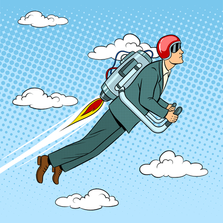 Man flying jet pack pop art style vector illustration. Human illustration. Comic book style imitation. Vintage retro style. Ilustracja