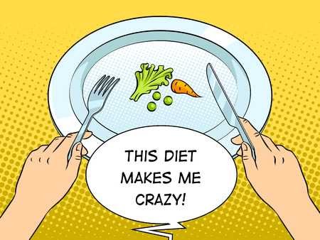 Healthy food on plate pop art retro vector illustration. Diet starvation. Text bubble.Color background. Comic book style imitation. 向量圖像