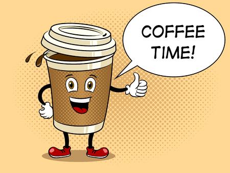 Koffiekopje en duim omhoog pop-art vector