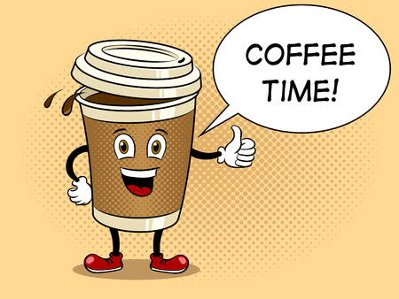 Tazza e pollice di caffè sul vettore di Pop art