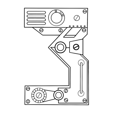 Mechanical number 3 engraving vector illustration
