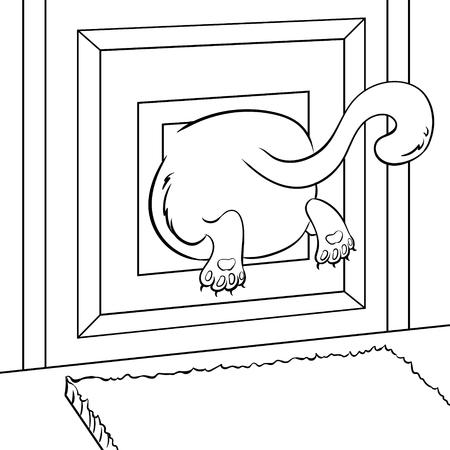 Fat kitten stuck coloring book Illustration