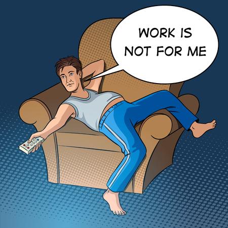 Lazy man watching TV Ilustração