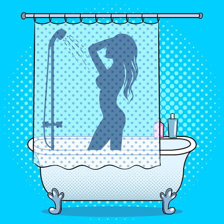 Woman silhouette washing in shower pop art style vector illustration. Human illustration. Comic book style imitation. Vintage retro style. Vettoriali