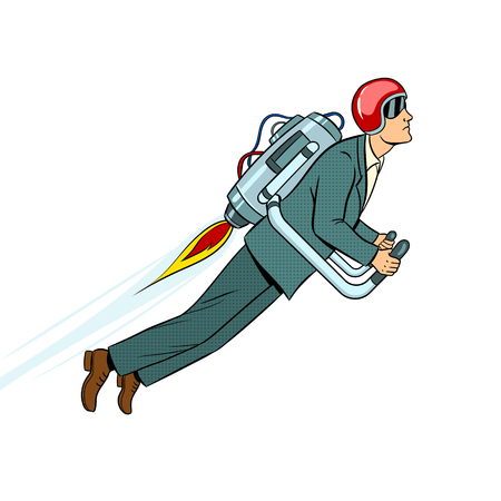 Man flying with jet pack