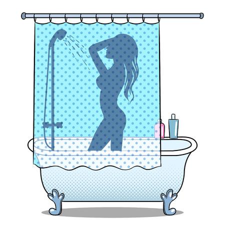 Woman washing or bathing in shower pop art style Vector illustration. Stock Illustratie