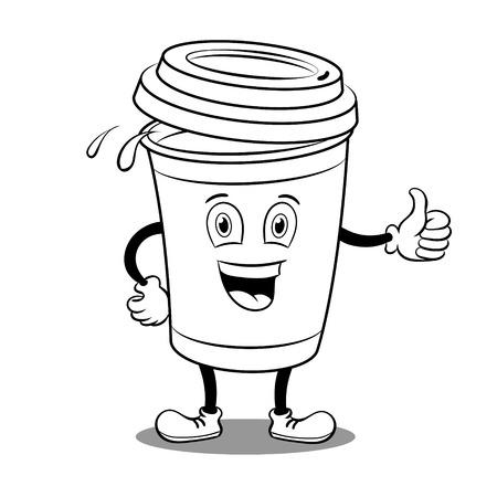 白い背景に親指アップジェスチャー着色ベクターイラスト孤立画像、コミックブックスタイルの模倣と漫画のコーヒーカップ。