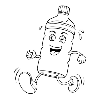 Bottle of water run coloring vector illustration. Cartoon character. Isolated image on white background. Comic book style imitation.