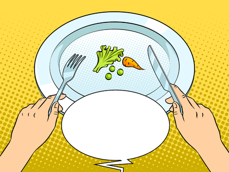 Healthy food on plate pop art retro vector illustration. Diet starvation. Text bubble. Color background. Comic book style imitation. 向量圖像