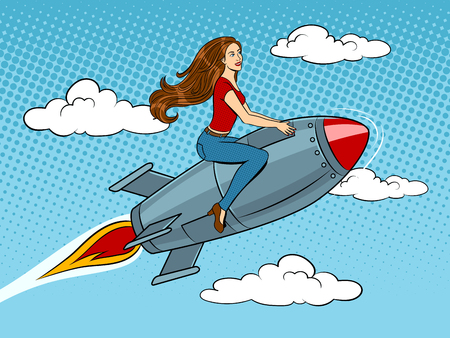 Woman fly on rocket pop art style vector illustration. Human illustration. Comic book style imitation. Vintage retro style. Ilustração