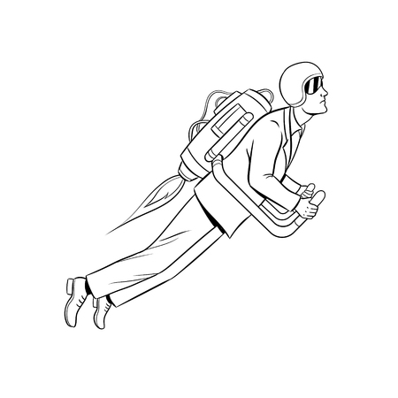 Man flying jet pack coloring book vector Foto de archivo