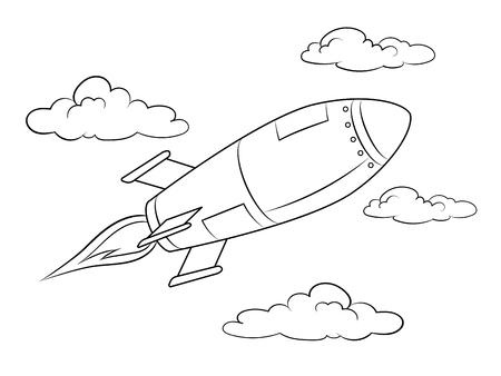 Rocket missile flying coloring book vector illustration