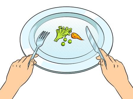 Teller mit Gemüse und Hand mit Messer und Gabel Standard-Bild - 95613034