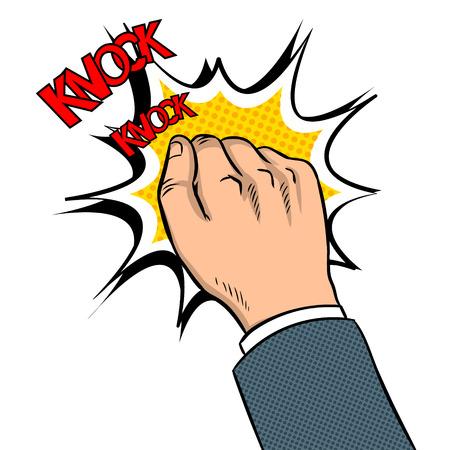Hand knocking door pop art vector illustration