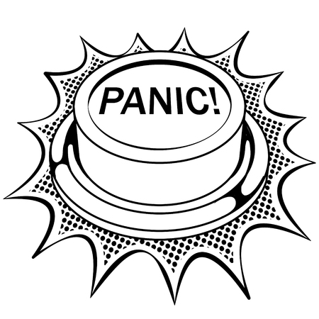 Panic button coloring book vector illustration