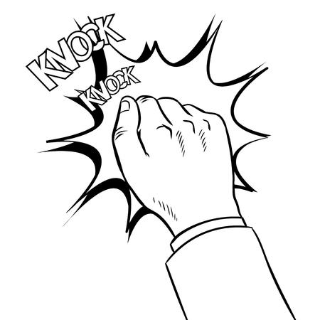 Hand knocking door coloring book vector