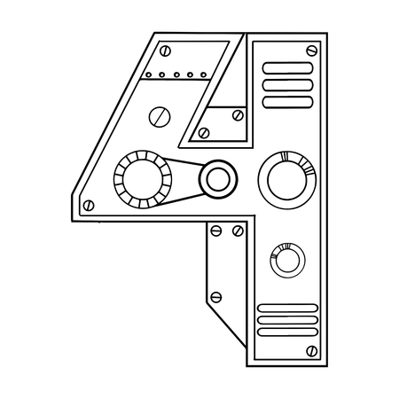 Mechanical number 4 engraving design in black and white illustration.