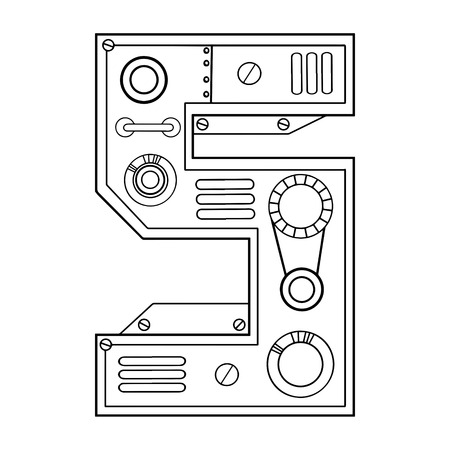 Mechanical number 5 engraving design in black and white illustration.