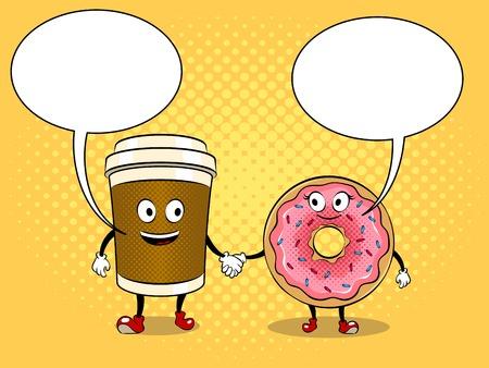 コーヒーカップとドーナツポップアートベクター  イラスト・ベクター素材