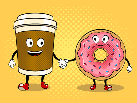 Coffee cup and donuts pop art vector Banque d'images - 95968800