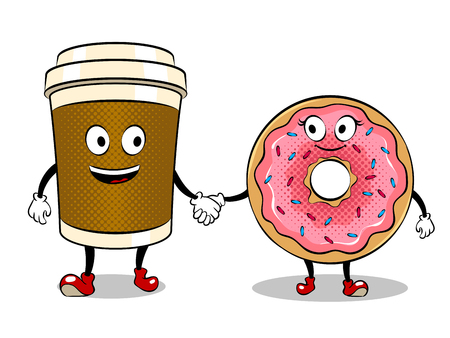 Coffee cup and donut pop art vector Stock fotó - 95886215