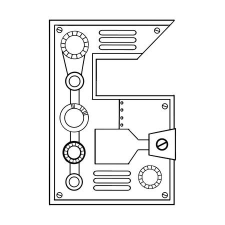 Mechanische Nummer 6 Gravur Vektor-Illustration Standard-Bild - 95838382