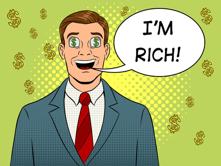 Businessman with dollar sign in eyes pop art