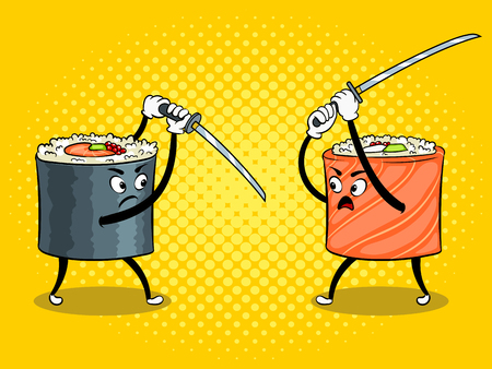Traditional sushi roll with Japanese sword pop art retro vector illustration