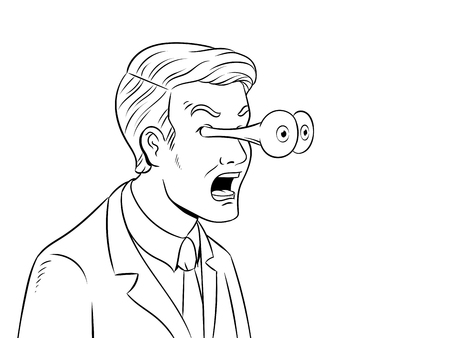 Businessman with popping eyes coloring book illustration.