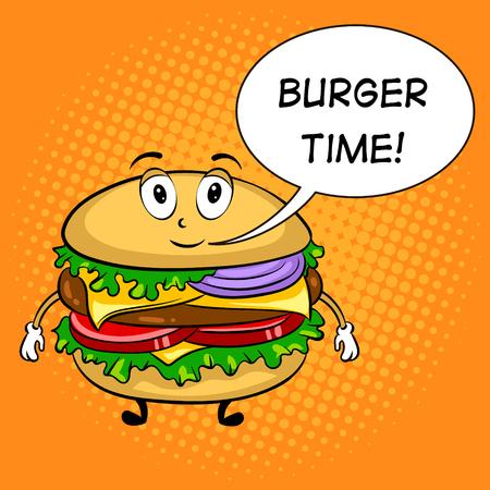 Burger cartoon pop art vector illustration.