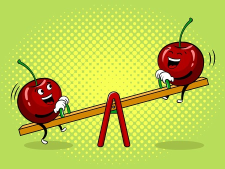 Cherry on seesaw pop art vector illustration.