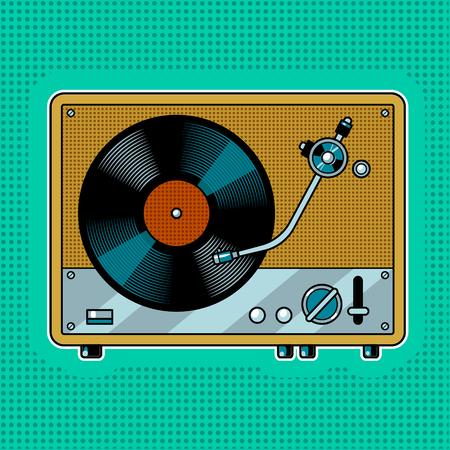レコードプレーヤーターンテーブルポップアートベクターイラスト。 写真素材 - 96251805