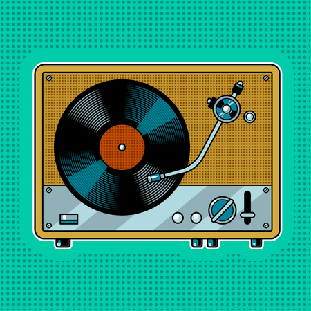 Record player turntable pop art Vector illustration. Vettoriali
