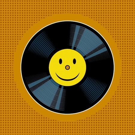 Vinyl record with yellow smile pop art vector. Çizim